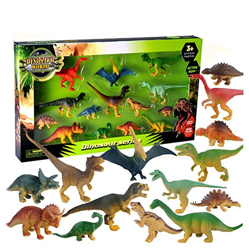Lanlan 14PCS Assorted Mini Dinosaur Toy Figures Realistic Medium and Small Sized Dinosaur Furnishing Articles by Lanlan