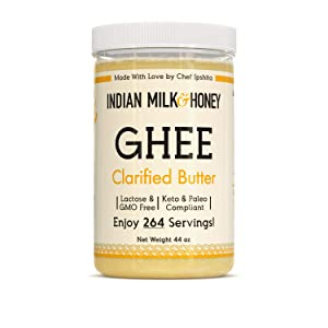 Chef-crafted FLAVORFUL Ghee   Indian Milk & Honey Original   Ghee Clarified Butter   Clarified Butter   Lactose Free Butter   Pasture Raised Cows   Paleo   Keto   GMO-Free   Natural   SQF Certified Small Business   Jumbo 44 Ounce