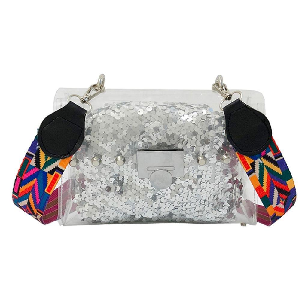 Exteren Fashion Women Transparent Crossbody Bags Shoulder Bag+Sequins Clutch Wallet for Children Girls Women Boys Men (Silver)
