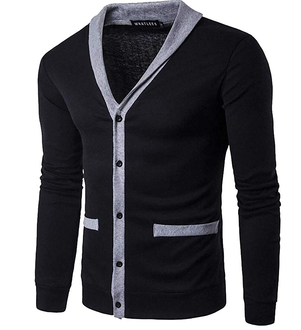 heymoney Mens Casual Sweater Basic Designed Long Sleeve V-Neck Front Button Knitted Cardigan
