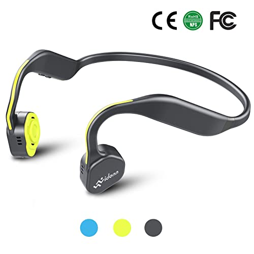 Vidonn F1 Bone Conduction Headphones Titanium Open Ear Wireless Sports Headset(Grey-Yellow)