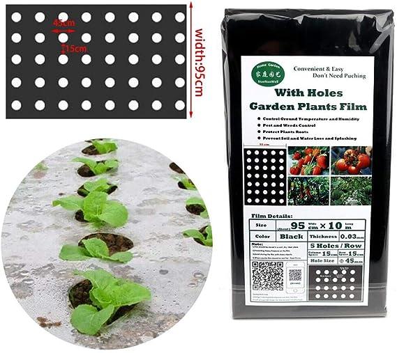 Lacyie Película de Invernadero de 10m Película de Plantas de jardín Cubierta Negra con Agujeros Película de plástico agrícola Película de PE Perforada: Amazon.es: Hogar