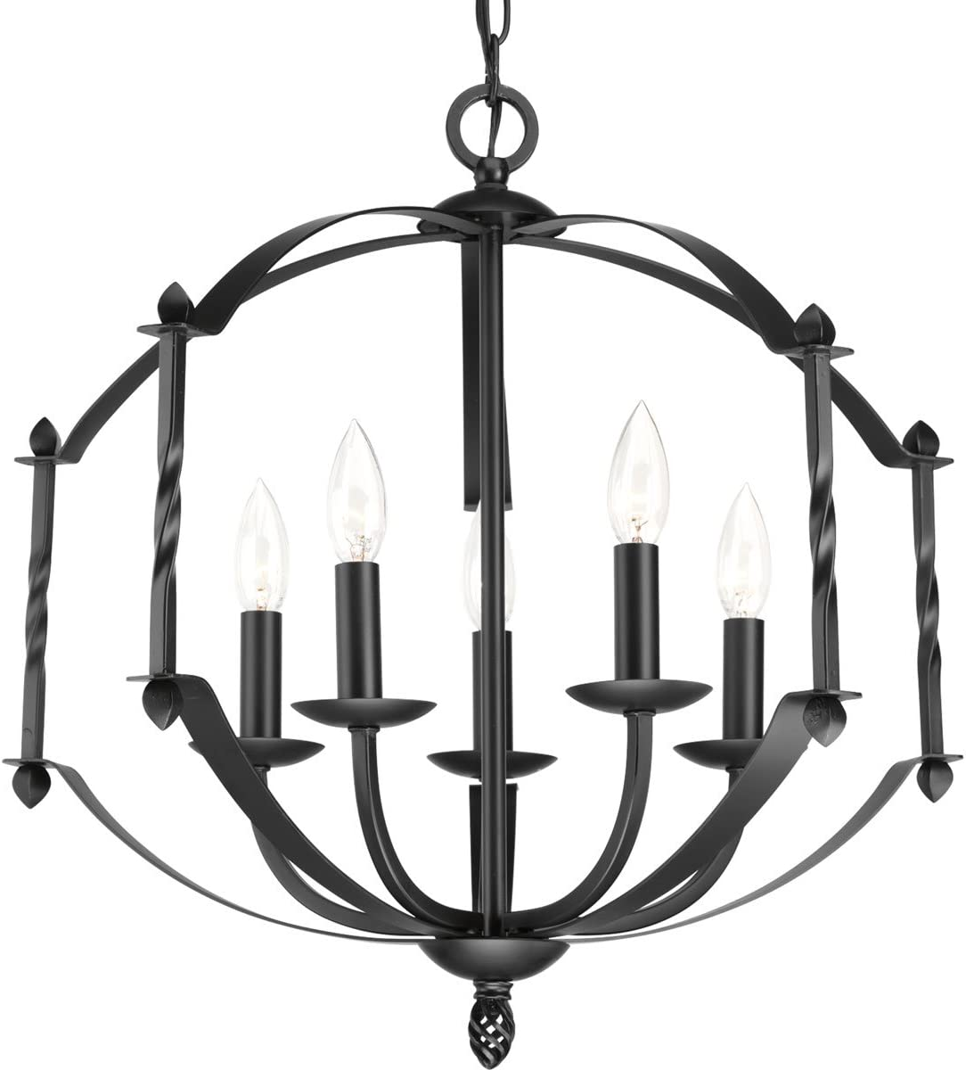 Progress Lighting P4710-31 Traditional Five Light Chandelier from Greyson Collection in Black Finish