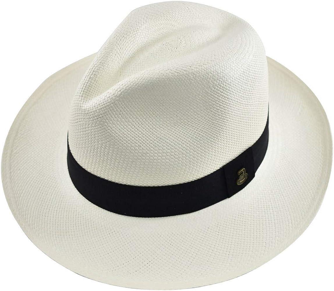 b4a72bf5a058e Original Panama Hat - White Classic Fedora - Black Band - Toquilla Straw -  Handwoven in