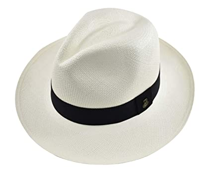 2629ec50134d Original Panama Hat - White Classic Fedora - Black Band - Toquilla Straw -  Handwoven in