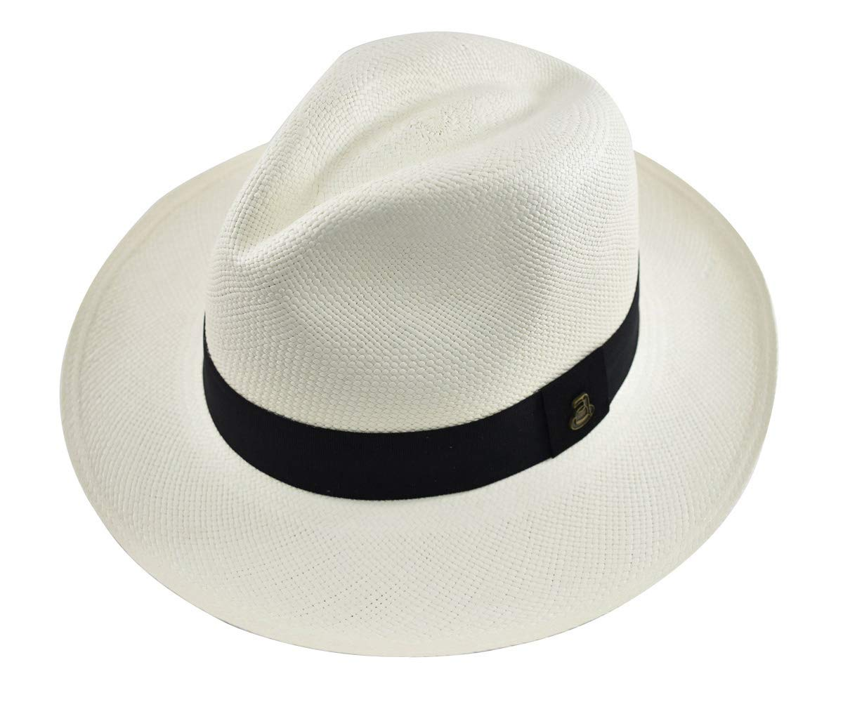 Original Panama Hat - White Classic Fedora - Black Band - Toquilla Straw - Handwoven in Ecuador (Medium | 57cm)