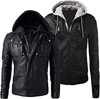 Detach Hood Finest Collections New Mens Motorcycle Brando Style Biker Real Leather Hoodie-Jacket