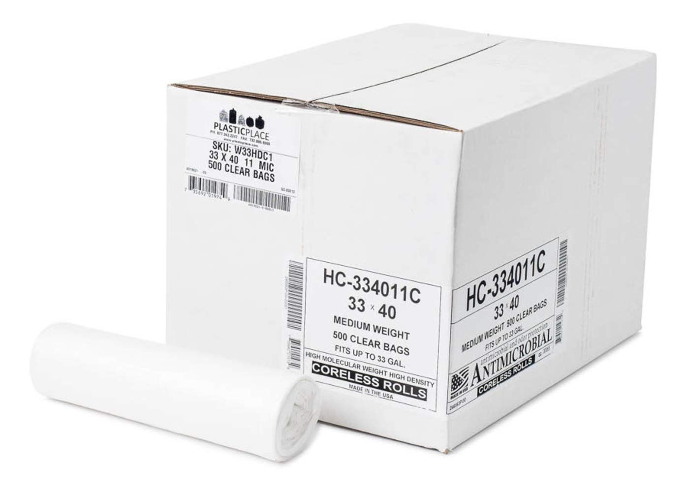 Clear High Density 33X40 33 Gallons 500/Case 11 Microns