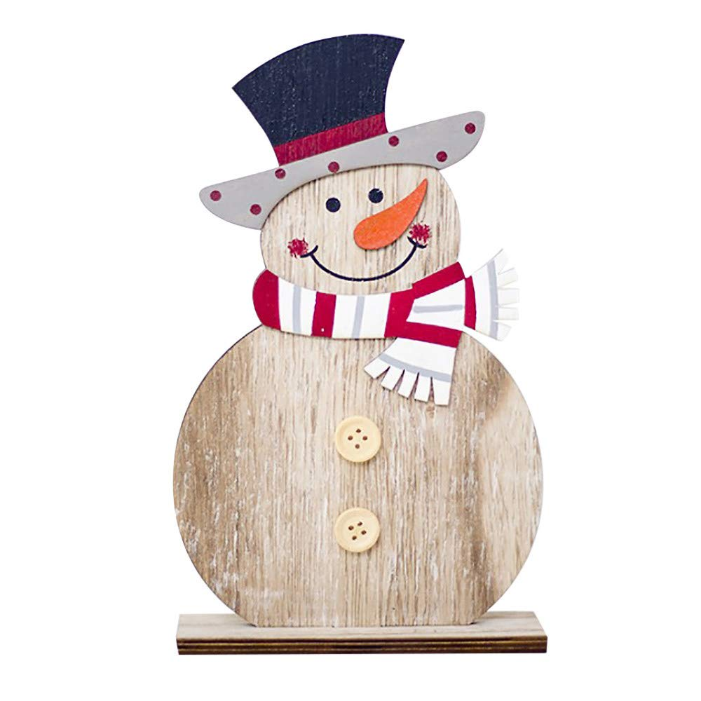 Fabal Snowman Christmas Home Decoration Handmade Wooden handicrafts Shapes Ornaments Craft Xmas Gifts (B)