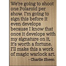 """We're going to shoot one Polaroid per..."" quote by Charlie Sheen, laser engraved on wooden plaque - Size: 8""x10"""