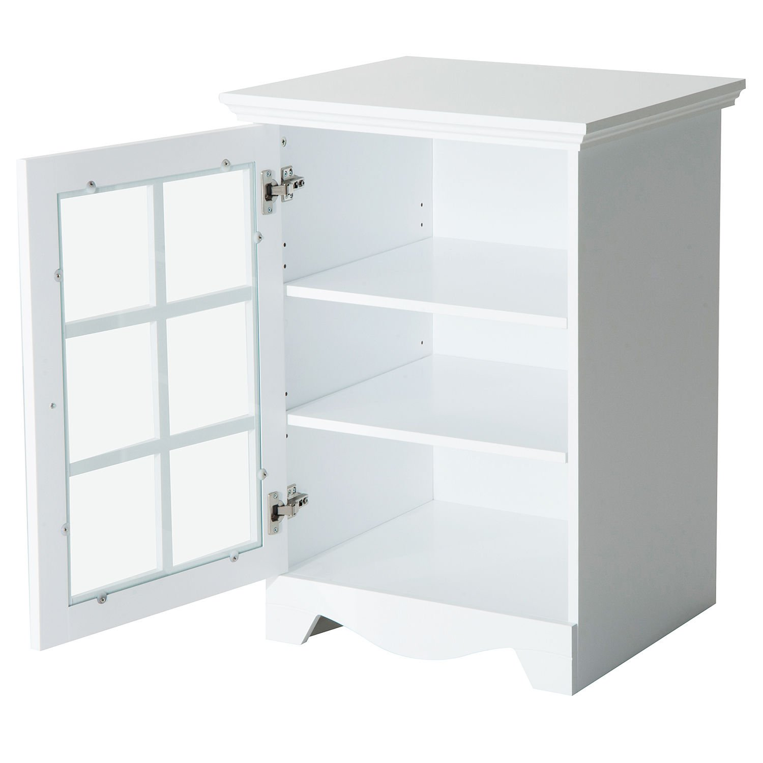 New White Wood Cabinet Storage Hutch Kitchen Bathroom Bedroom Single Glassed Door Shelves by totoshop (Image #5)