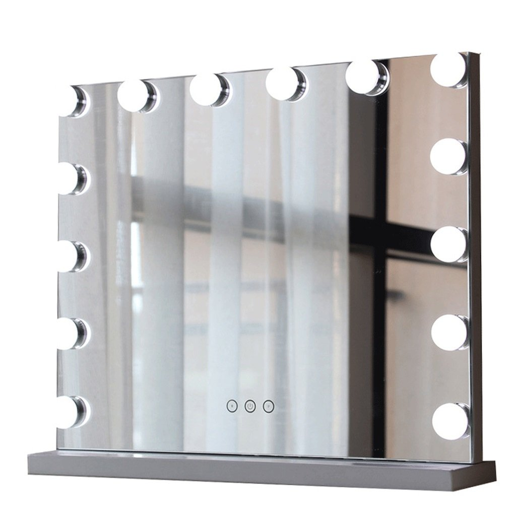 Makeup Mirror Metal Smart Square LED Bulb Desktop Vanity Mirror Three Color Fill Lamp (Size : 6252cm)
