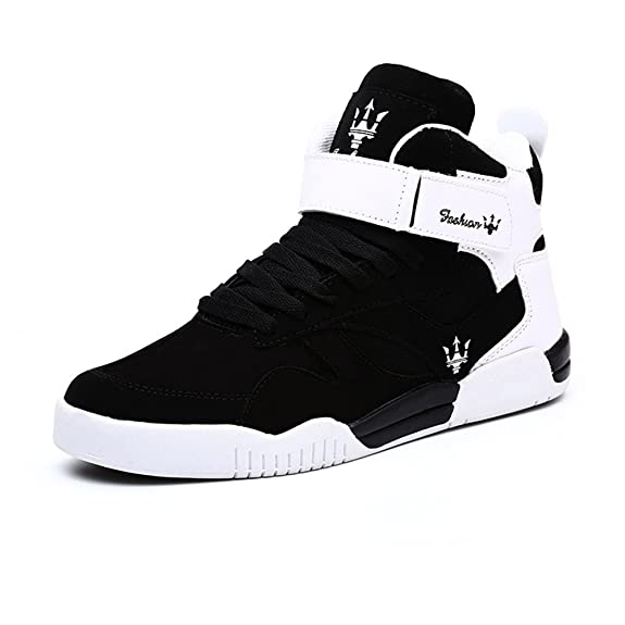 5f5aba5f05ec FZUU Mens Fashion High Top Leather Street Sneakers Sports Casual Shoes