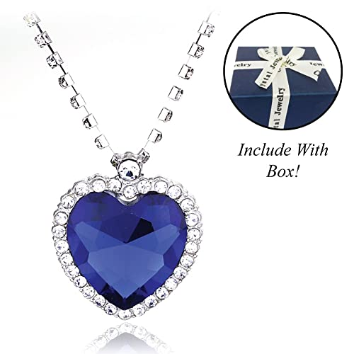 Heart of the Ocean Crystals from Swarovski Blue Pendant Necklace 18 ct Gold Plated for Women 18 JrAt5