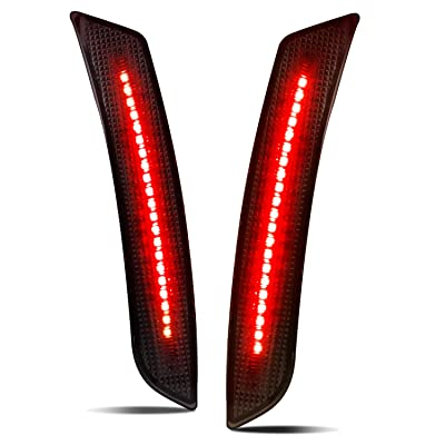 RUXIFEY Smoked Lens LED Side Marker Lights Rear Bumper Sidemarker Reflectors Compatible with 2016 to 2020 Chevy Camaro Red - Pack of 2: Automotive