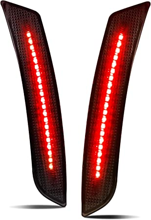 iJDMTOY Smoked Lens Red Full LED Rear Side Marker Light Kit Compatible with 2010-15 Chevy Camaro Powered by 27-SMD LED Replace OEM Back Sidemarker Lamps