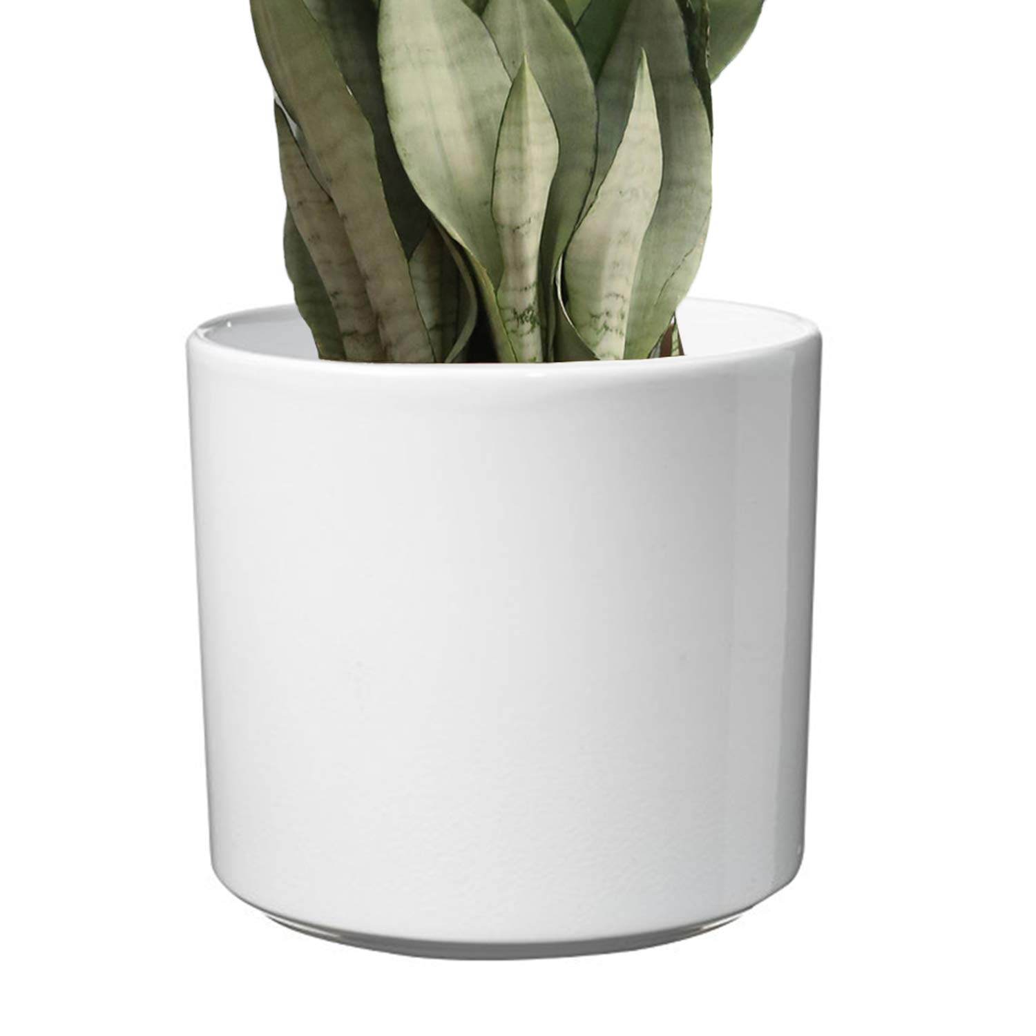 Modern Ceramic White Planter – Large Flower Pot 10 inch Model for Indoor Large Planter Fits Perfectly in Mid Century Plant Stands Cylinder Ceramic Round Plant Pots