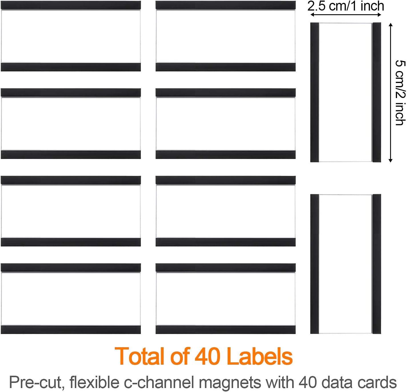 Porta Carta Magnetico Supporto di Carte Magnetiche con Magneti e Carte per Scaffalature Metalliche Scaffali Metallici Cassette Postali in Metallo 40 Confezioni, 1 x 2 Pollici