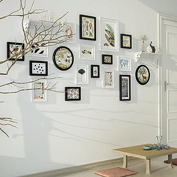 18 Multi Bilderrahmen Set Kiefer Holz Schwarz Und Weiß Moderne Wand Foto  Bild Wandrahmen Für Wohnzimmer