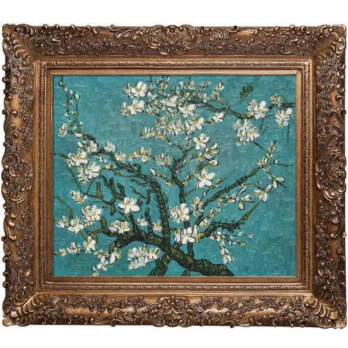 overstockArt Branches of an Almond Tree in Blossom Vincent Van Gogh Canvas Art, Burgeon Gold Frame/Finish