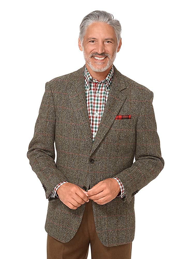Men's Vintage Style Suits, Classic Suits Paul Fredrick Mens Harris Tweed Windowpane Sport Coat $259.00 AT vintagedancer.com