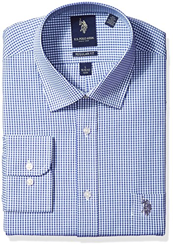 U.S. Polo Assn. Men's Regular Fit Check Semi Spread Collar Dress Shirt, Gingham Check Blue/White, 16
