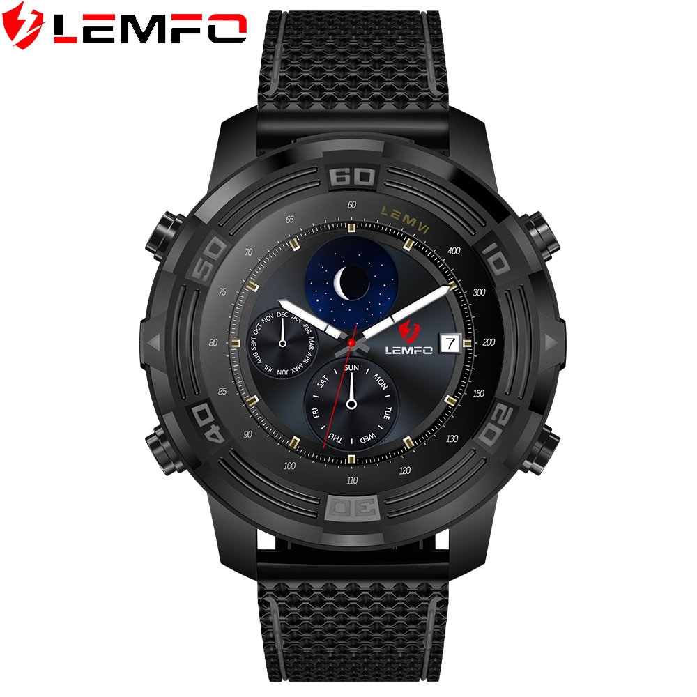 LEMFO LEM6 Android 5.1 Smart Watch Phone Waterproof GPS Tracker 1GB + 16GB Smartwatch with Replaceable Strap,Black