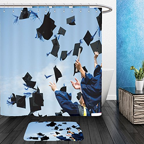 Vanfan Bathroom 2Suits 1 Shower Curtains & 1 Floor Mats high school graduation hats high 83821315 From Bath (School Western Band Costumes Pictures)