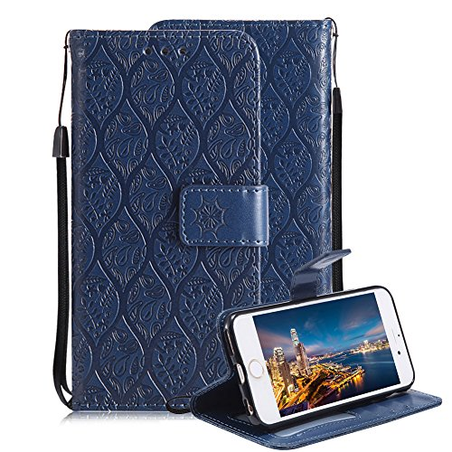 Price comparison product image For iPhone 6 Plus/6S Plus Wallet Case, Aearl Premium Soft PU Leather Embossed Rattan Flower Case with Stand Function Card Holder Wrist Strap Slim Flip Protective Cover for iPhone 6S Plus -Dark Blue