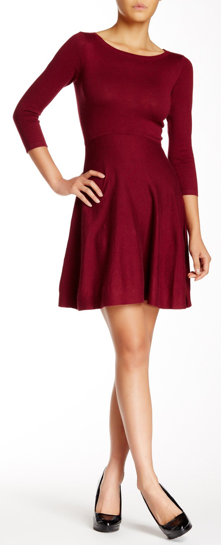 French Connection Women's Sydney Knits Solid Fit and Flare Dress, Burgundy, 2