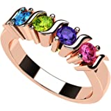 NANA S-Bar Mothers Ring 1 to 6 Simulated Birthstones in Silver or 10k White, Yellow or Rose Gold