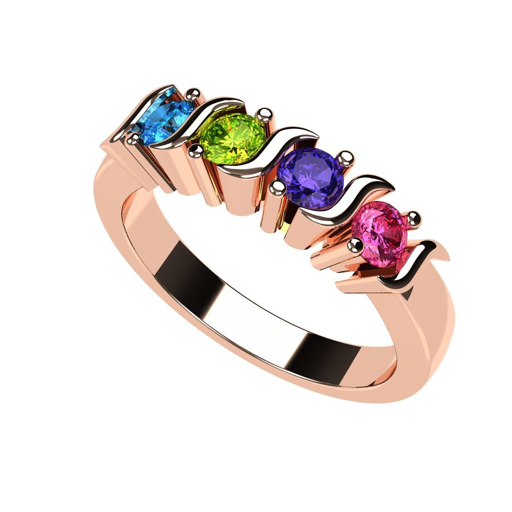 NANA S-Bar Mothers Ring 1 to 6 Simulated Birthstones- 10k Rose Gold - Size 9