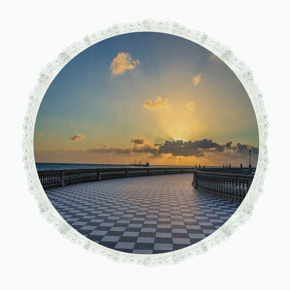 iPrint 36インチ ラウンド ポリエステル リネン テーブルクロス イタリアン装飾 地中海 ヨットボートの夏の村 アイディリック タウン パノラマ マルチカラー ディナーキッチン ホームデコレーション Round 36