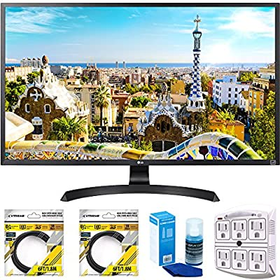 "LG 32"" 3840x2160 Ultra HD 4k LED Monitor (32UD59-B) with 2x 6ft High Speed HDMI Cable Black, Universal Screen Cleaner for LED TVs & SurgePro 6 NT 750 Joule 6-Outlet Surge Adapter with Night Light"