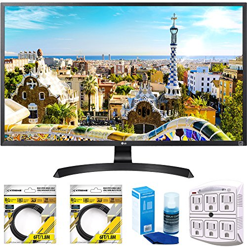 LG 32″ 3840×2160 Ultra HD 4k LED Monitor (32UD59-B) with 2x 6ft High Speed HDMI Cable Black, Universal Screen Cleaner for LED TVs & SurgePro 6 NT 750 Joule 6-Outlet Surge Adapter with Night Light
