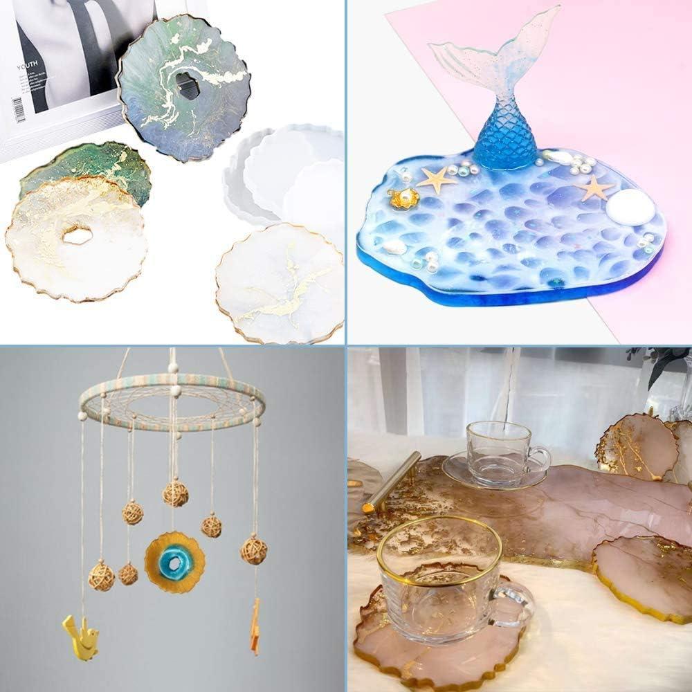 kit de dessous de verre bricolage pour lartisanat de d/écoration de la maison 4 pi/èces moules en silicone sous-verres irr/éguliers moules de moulage en r/ésine /époxy avec feuille dor 4 couleurs