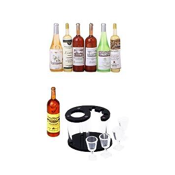 2x 1//12 Puppenhaus Miniatur Zubehör Mini Rotwein Glasflasche Q