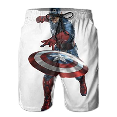 9af5852928 Avengers Captain America Mens Swim Trunks Summer Quick Dry Board Shorts  Elastic Waist Swimwear Bathing Suit