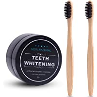 AZDENT Activated Teeth Whitening Charcoal Powder Toothpaste with 2 Pcs Bamboo Toothbrush for Adults