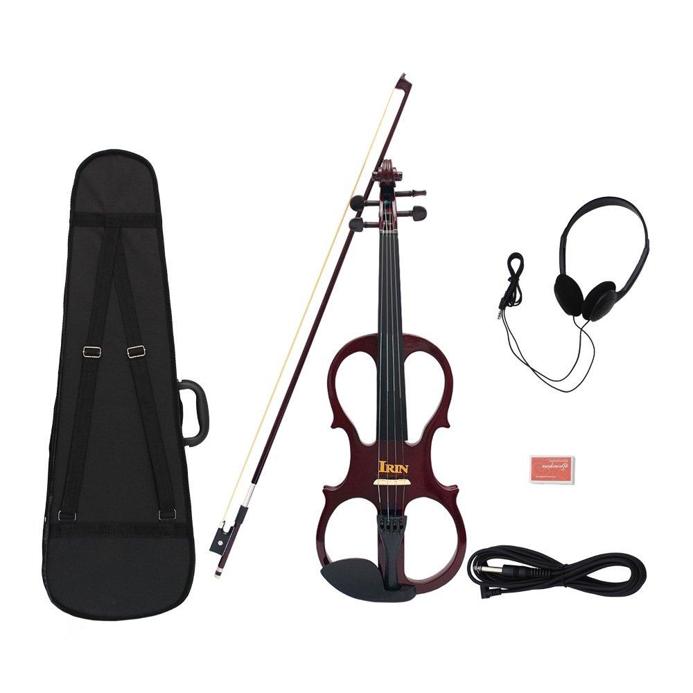 ammoon 9点セット 4/4 エレキバイオリン バイオリン メープル製 黒檀指板?弓 スチール弦 弦楽器 B01MR79E6G 紫
