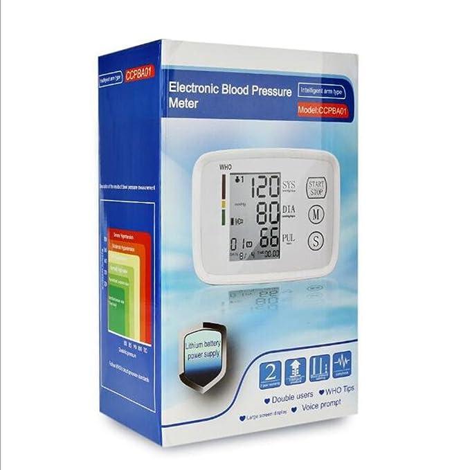 ZWW - Tensiómetro electrónico brazo Monitoreo de arterial esfigmomanómetro electrónico recargable English Broadcast, color blanco: Amazon.es: Salud y ...