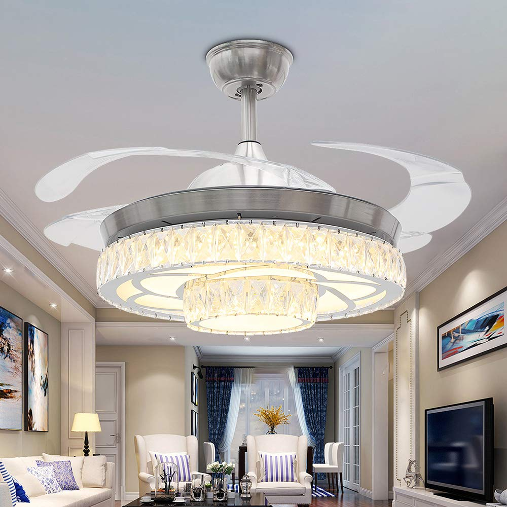 RS Lighting Modern Fashion Low Profile Ceiling Fans with Lights 42 Inch Invisible Ceiling Fan Chandelier for Indoor Living Dining Room Bedroom Crystal Ceiling Fan Light