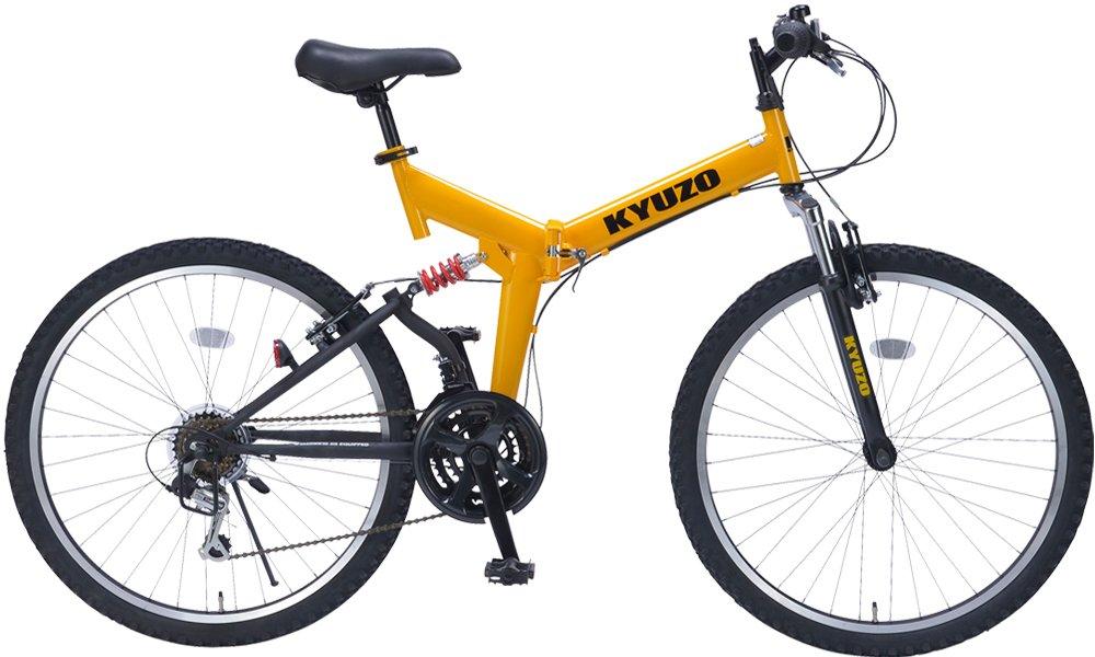 26インチ折りたたみマウンテンバイク 自転車の九蔵特注モデル シマノ製18段変速 グリップシフト フロントサスペンション リアサスペンション KYUZO KZ-104 (イエローxブラック) B001UQK43Q