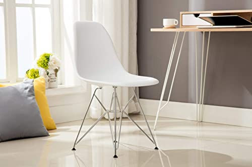 Porthos Home Dining Chair With Durable Plastic Finish Set of 2,Eames Style , One Size, White