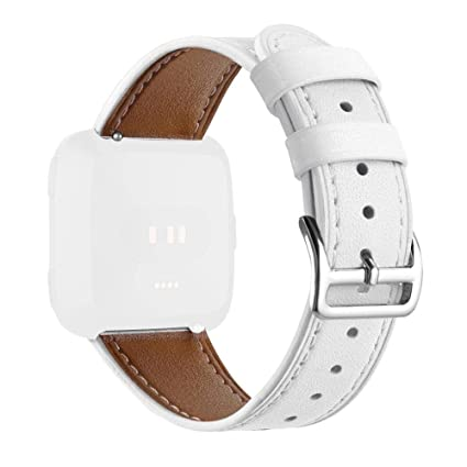Goodbenemall - Reloj Inteligente de Pulsera Ajustable de Piel para Fitbit Versa, Blanco