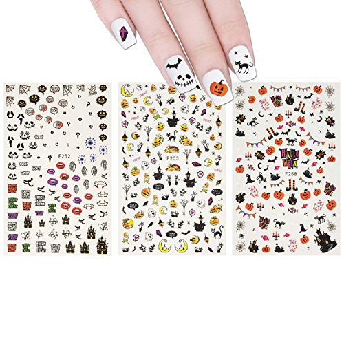 ALLYDREW 3 Sheets Spooky Halloween Nail Art Halloween Nail Stickers -
