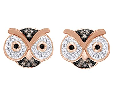 7078ee63c Amazon.com: Black, Champagne And White Diamond Owl Stud Earrings In 14K  Rose Gold Over Sterling Silver (1/5 Cttw): Jewelry