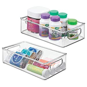 """mDesign Stackable Plastic Storage Organizer Container Bin with Handles for Bathroom - Holds Vitamins, Pills, Supplements, Essential Oils, Medical Supplies, First Aid Supplies - 3"""" High, 2 Pack - Clear"""