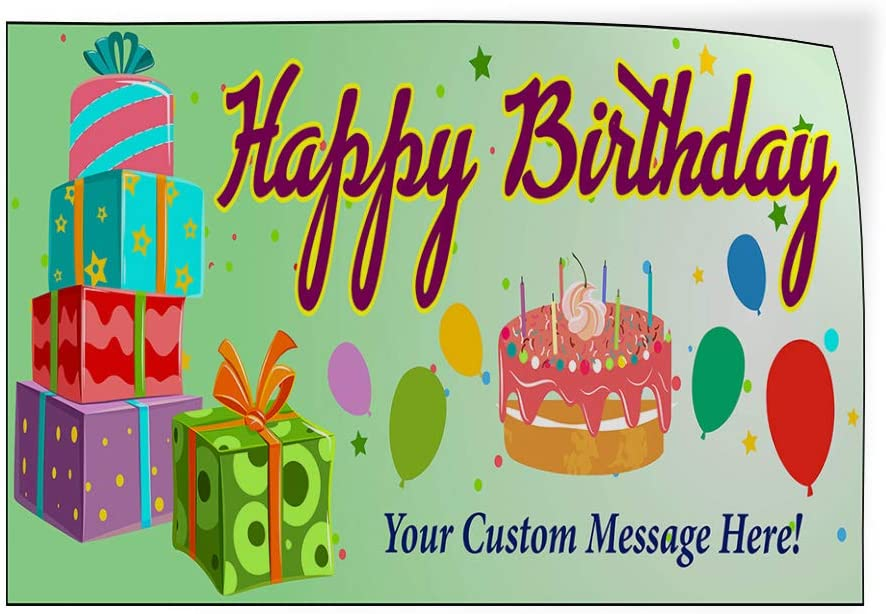 Custom Door Decals Vinyl Stickers Multiple Sizes Happy Birthday Message A Holidays and Occasions Happy Birthday Outdoor Luggage /& Bumper Stickers for Cars Blue 52X34Inches Set of 2