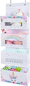 WERNNSAI Unicorn Over The Door Hanging Organizer - 4 Clear Window Pocket Behind Door Hanger Storage Rack Bathroom Organizer for Baby Girls Toy Diaper Pantry Closet Bedroom Nursery Decor